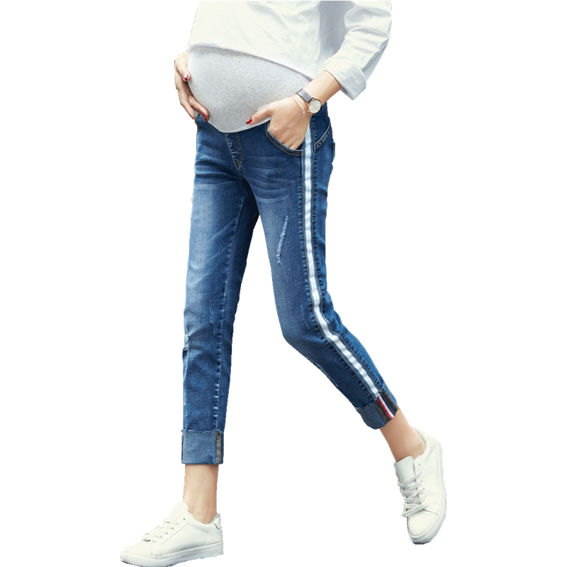 Summer new pregnant women jeans nine pants Slim pregnant women pants ropa premama pregnant clothes ropa de embarazo maternity ...