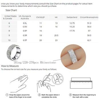 Chanfar 5 Rows Crystal Stainless Steel Ring Women for  Elegant Full Finger Love Wedding Engagement Rings 3