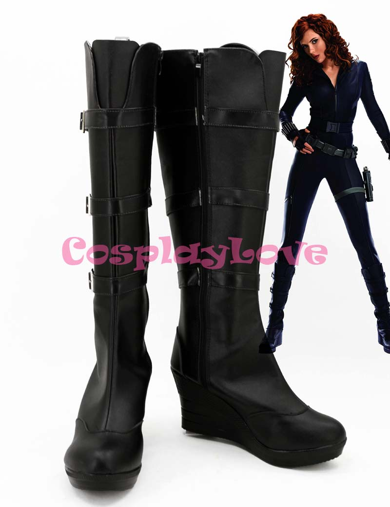Newest Custom Made American Movie Iron Man 2 Black Widow Natasha Romanoff Cosplay Shoes Long Boots