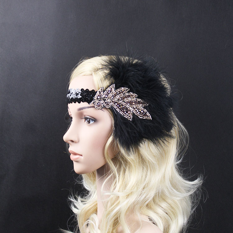 Vintage Feather Beads Sequins Embellished 20s Headpiece 1920s Gatsby Flapper Headband With Purple Diamond Leaf Ornament 2