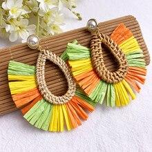 Vintage Tassel Earrings Bohemian Statement Drop Lafite Earring for Women Raffia Straw Handmade Fashion Jewelry Female