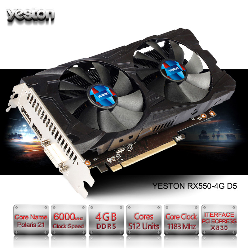 Yeston Radeon RX 550 GPU 4GB GDDR5 128bit Gaming Desktop computer PC Video Graphics Cards support PCI-E 3.0 original gpu veineda graphics cards hd6450 2gb ddr3 hdmi graphic video card pci express for ati radeon gaming
