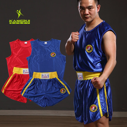 Breathable Red Blue Sanda Suits For Training And Competition MMA Muay Thai Boxing Shorts Kick Boxing Pants Boxing Suits