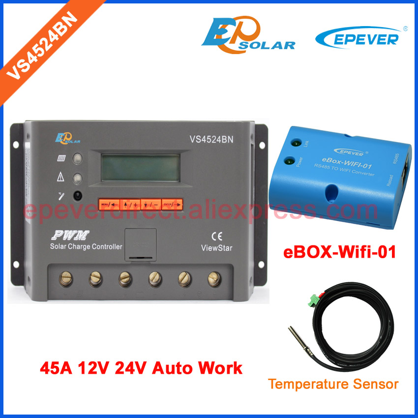 24V 45A controller PWM EPSolar new series off-grid solar panel system charger controller VS4524BN wifi BOX and temp sensor