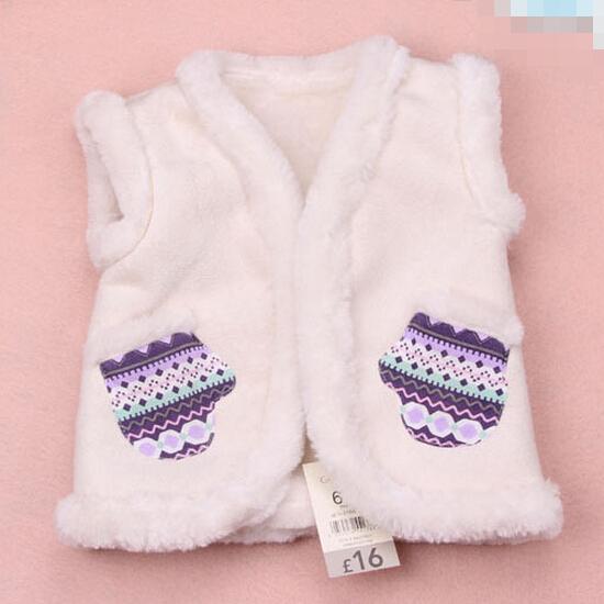 2015 Elegante Chaleco de Bebé de Invierno Tela De Gamuza exterior, lana de cordero de alta gama de marca Recién Nacido otoño bebé chaleco niños traje 6-24 M