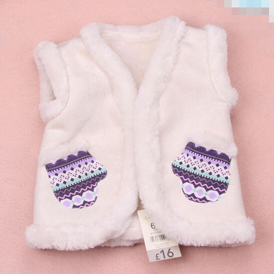 2015 Vest Elegant Baby Winter outer Suede Fabric, lamb wool high-end Newborn brand autumn baby waistcoat infants costume 6-24M