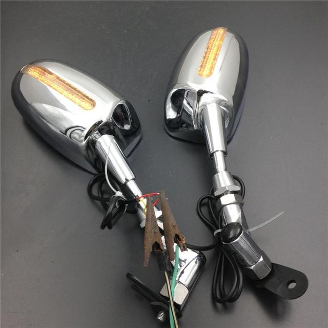 For Motorcycle Honda CBR 600RR Kawasaki Ninja 636 ZX6R Yamaha YZF R6 R1 CHROME LED Mirrors