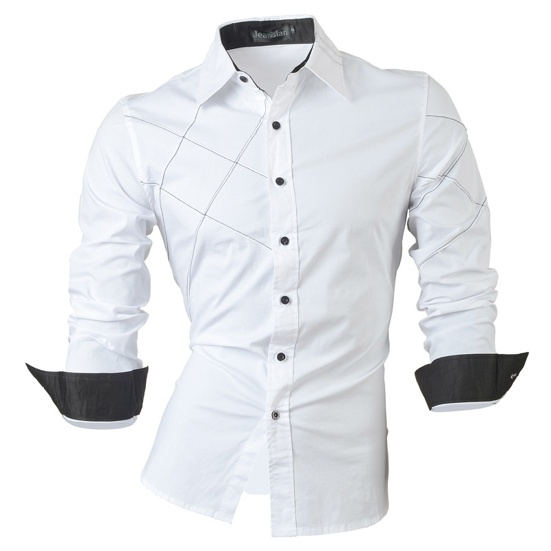 jeansian casual shirts dress male mens clothing long sleeve social slim fit brand boutique cotton western button 2028 3