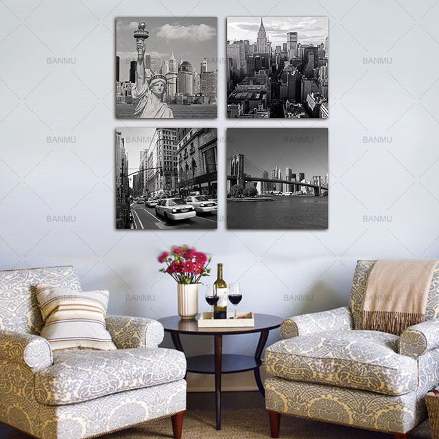 Online Shop Canvas Painting Wall Art Picture 4 Panel New York City ...