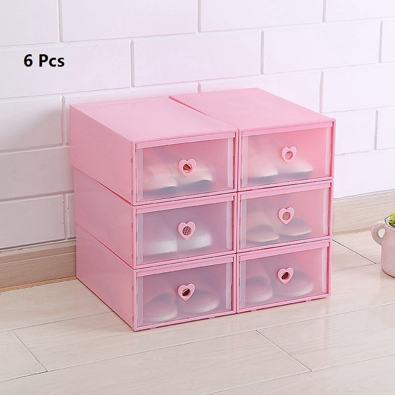 6 Pcs Shoes Chest Of Drawers Stackable Drawer Shoe Storage Box Plastic Transparent Thick Heart shaped Shoes Organizer Dustproof