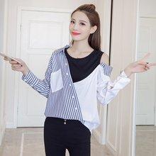 С длинным рукавом без бретелек сплайсированные женские пуговицы для рубашки корейская мода леди асимметрия весна полосатый o-образным вырезом женские длинные рубашки