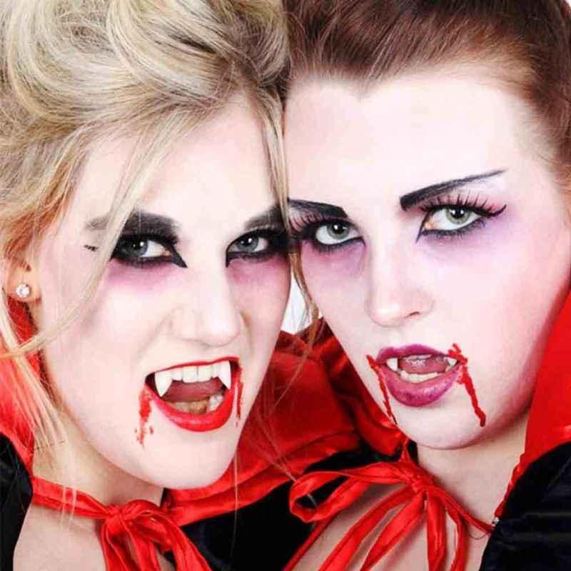 Dewasa dan Anak-anak Halloween Pesta Kostum Mengerikan Gaun Vampir Palsu Gigi Taring Gigi Palsu Cosplay Foto Suvenir DIY Dekorasi