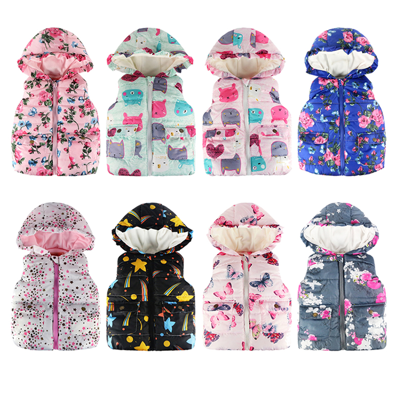 JOMAKE Girls Vests 2018 Autumn&Winter Brand Baby Girl Clothes Printed Hooded Kids Waistcoat Children Clothing Vest Jacket Coat