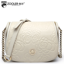 zooler brand genuine leather messenger bags for women floral embossed handbag with a chain,spring new small shoulder bag