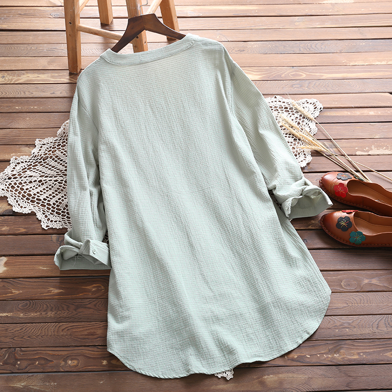 Plus Size 2018 Women Floral Blouse Elegant Autumn O Neck Long Sleeve Casual Loose Cotton Linen Top White Blusas Buttons Shirt 1