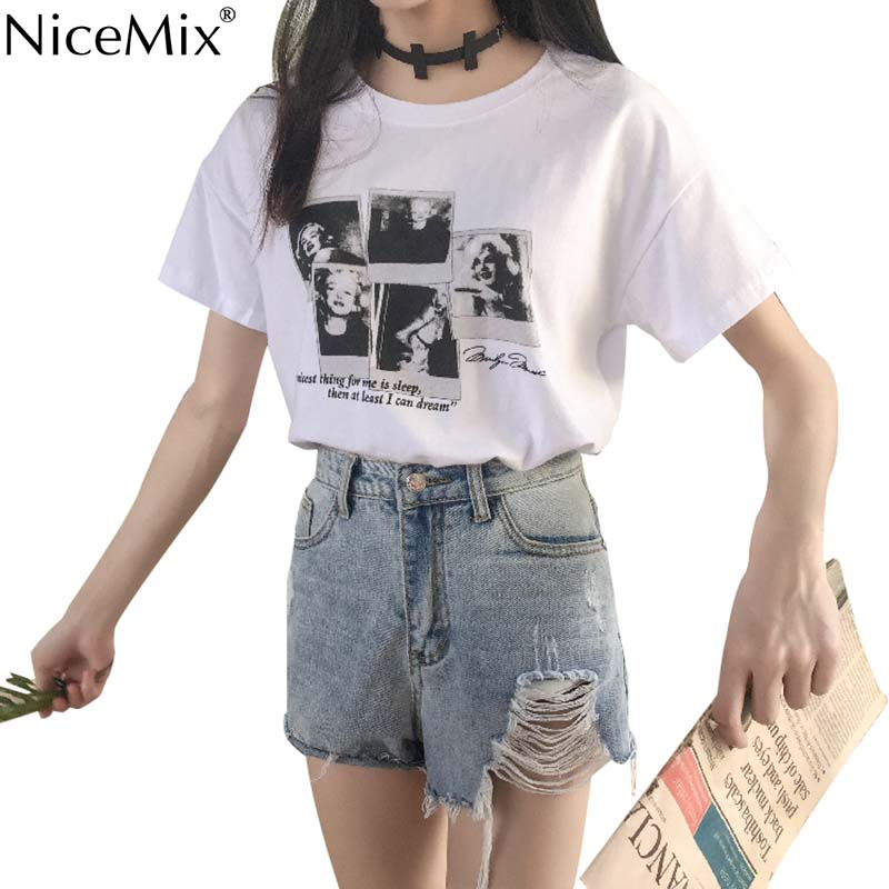 NiceMix New Summer Harajuku Tshirt Women Kawaii Print Marilyn Monroe T Shirt Cotton Tops Tumblr Tee Shirt Femme 2019 in T Shirts from Women 39 s Clothing