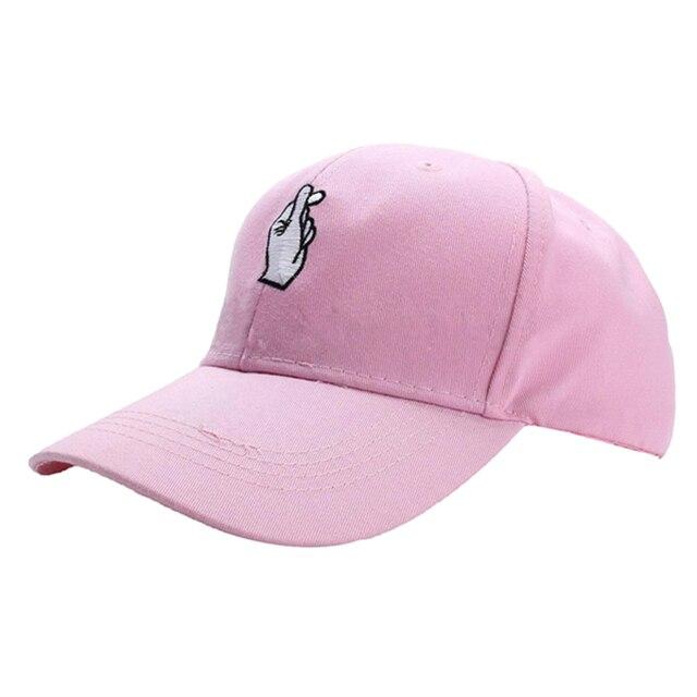 MALL Adjustable Men Women Hand Love Hat Hip Hop Curved Baseball Cap Color  Pink 12d8980ac6d4