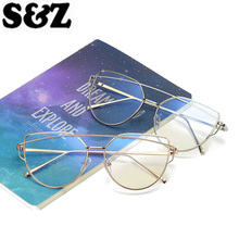 Flat Lense Mirror Sunglasses Women Cat Eye Glass Sunglasses Classic Brand Designer Sun Glasses Rose Gold Frame Fashion Ladies