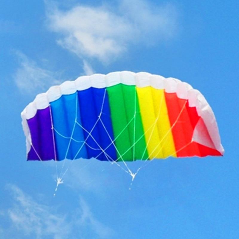 Freies verschiffen 1,4 mt dual line parafoil kite fliegen werkzeuge linie power braid segeln kitesurf regenbogen outdoor spielzeug sport strand