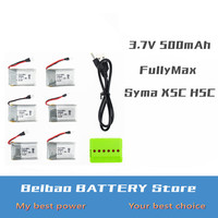 6 pcs x5 rc lipo battery 3.7v 500mah fullymax and charger with plug for syma x5c x5sc H5C X5A drone Helicopter Airplane part