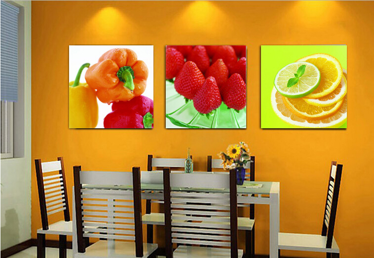 cheap room decoration high quality modern printed on canvas 3 piece wall decor fruit canvas - Cheap Decor