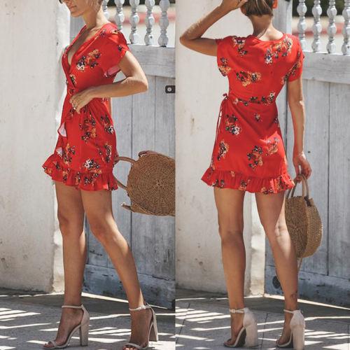 Fashion Women Printing Wrap Dresses Short Sleeve Ladies Deep V-neck Ruffles Mini Dress