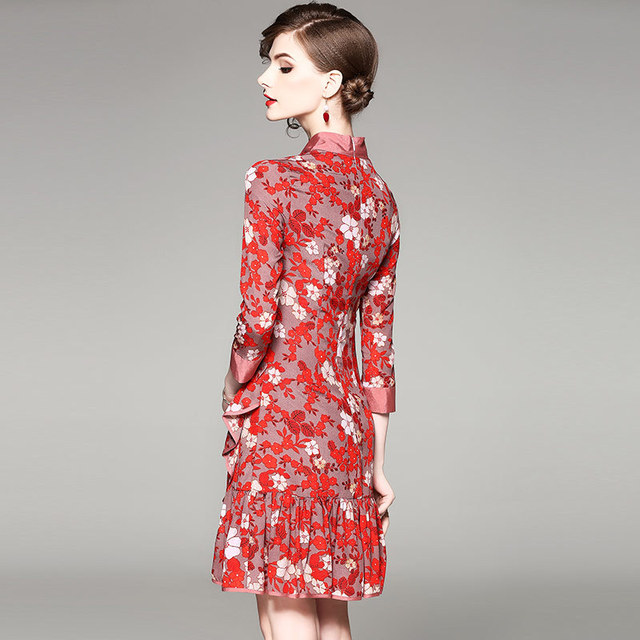Neck Floral Printing Above Knee Casual Dress