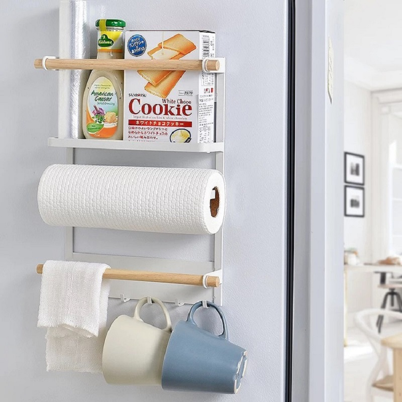 Creative Magnetic Adsorption Refrigerator Storage Holder Kitchen Paper Towel Shelf Rack Refrigerator Side Wall Hanger Organizer