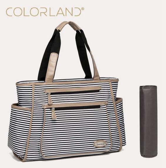 Colorland Black White Stripe Baby Diapar Bag Organizer Fashion Mummy Maternity Bag Travel Messenger Changing Nappy