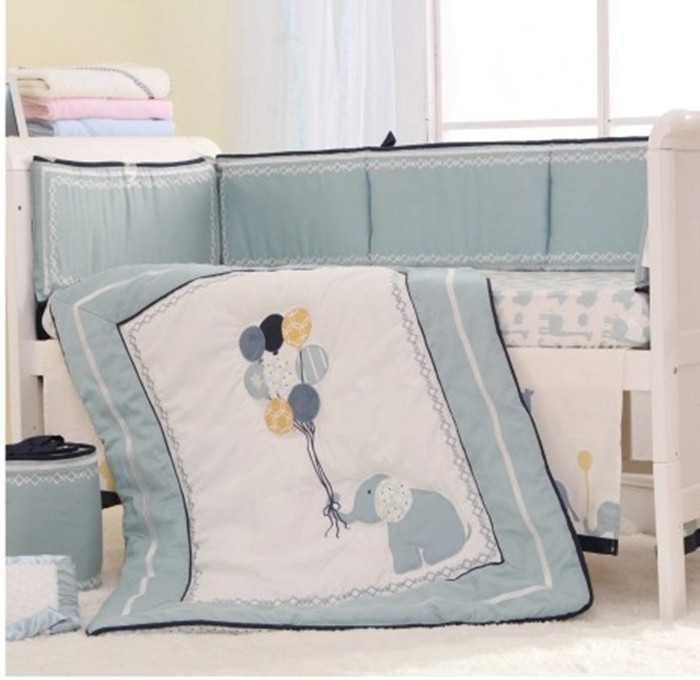 High-end 8 PCS Bumper Happy Elephant crib bumper baby cot bumper set (Quilt+Bed Cover+Bumpers+Bed skirt)