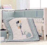 High end 8 PCS Bumper Happy Elephant crib bumper baby cot bumper set (Quilt+Bed Cover+Bumpers+Bed skirt)