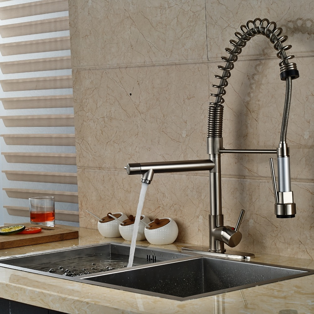 Taller Nickel Brushed Kitchen Faucet Dual Spouts Spring Vessel Mixer Tap with 8 Plate led chrome kitchen faucet dual spouts spring vessel sink mixer tap