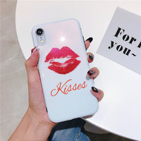 100PCS Phone Case Sexy Lips For iphone 6 6S 7 8 plus Letter kiss me phone case for iphone X XS XR Full Protect Back Cover Cases