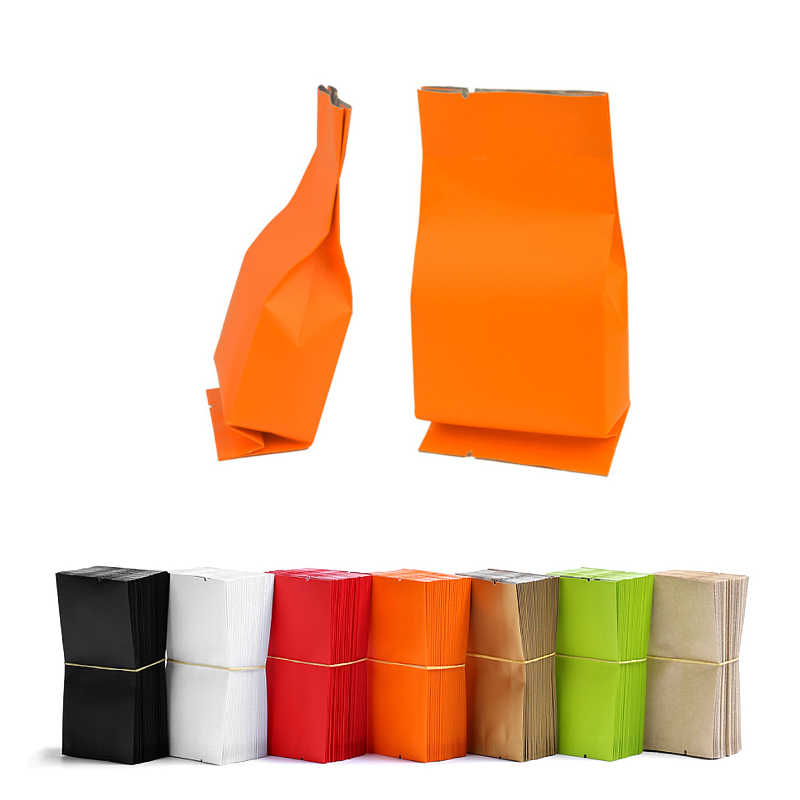 5.5x12cm (2x4.75in) 100pcs Flat Kraft Paper Storage Bags Tea Coffee Open Top Heat Sealing Aluminum Foil Side Gusset Package Bag