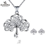 EUDORA 100% 925 Sterling Silver Sets Tree of Life Pendant Necklace Earrings Jewelry Set Sterling Silver Jewelry Gift CYD114