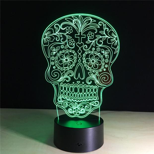 7 COLORS CHANGE 3D SUGAR SKULL LED LAMP (8 VARIAN)