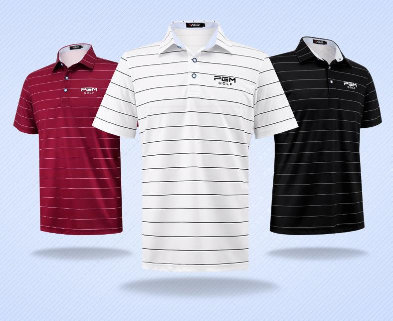 2018 PGM new Sportswear Quick Dry breathable golf shirt Men training Sport POLO stripe T Shirts Short sleeve