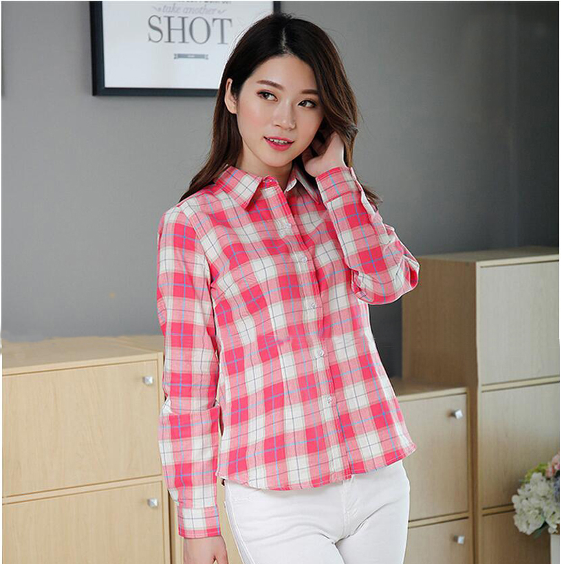 Plaid Shirt Women New 100% Cotton Long Sleeve Casual Flannel Shirts - Women's Clothing - Photo 2