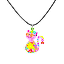 Kingdeng gatos colar para a menina crianças esmalte dos desenhos animados gato plástico jóias acessórios feminino animal colar pingente festa