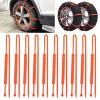 10Pcs Set Car Tyre Snow Chains Orange Winter Wheel Tire Chains Anti Skid Auto Care Car