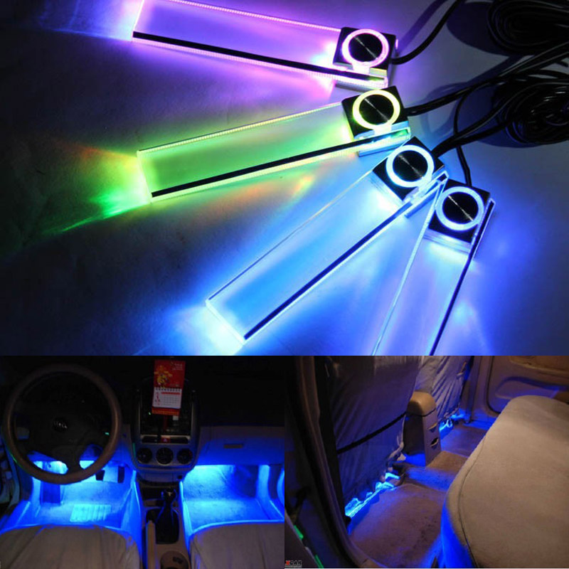 4pcs/set 12V Colorful Car Interior Atmosphere Lamp SUV Auto Floor Strip Lamp Car Interior Neon Lights yijinsheng 4x12 led 7 colors car atmosphere lights decoration lamp 12v auto interior lights glow decorative cigarette lighter