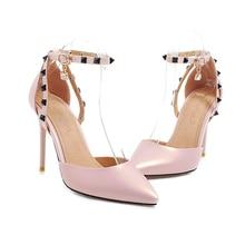 YANSHENGXIN Black Rivet Ankle Strap Women's Pointed Toe High Heels Woman Scarpin Stiletto Shoes Party Pumps Zapatos De Mujer цены