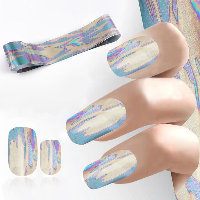 100*4cm Kakhi Green Purple River Design Nail Art Transfer Foil ...