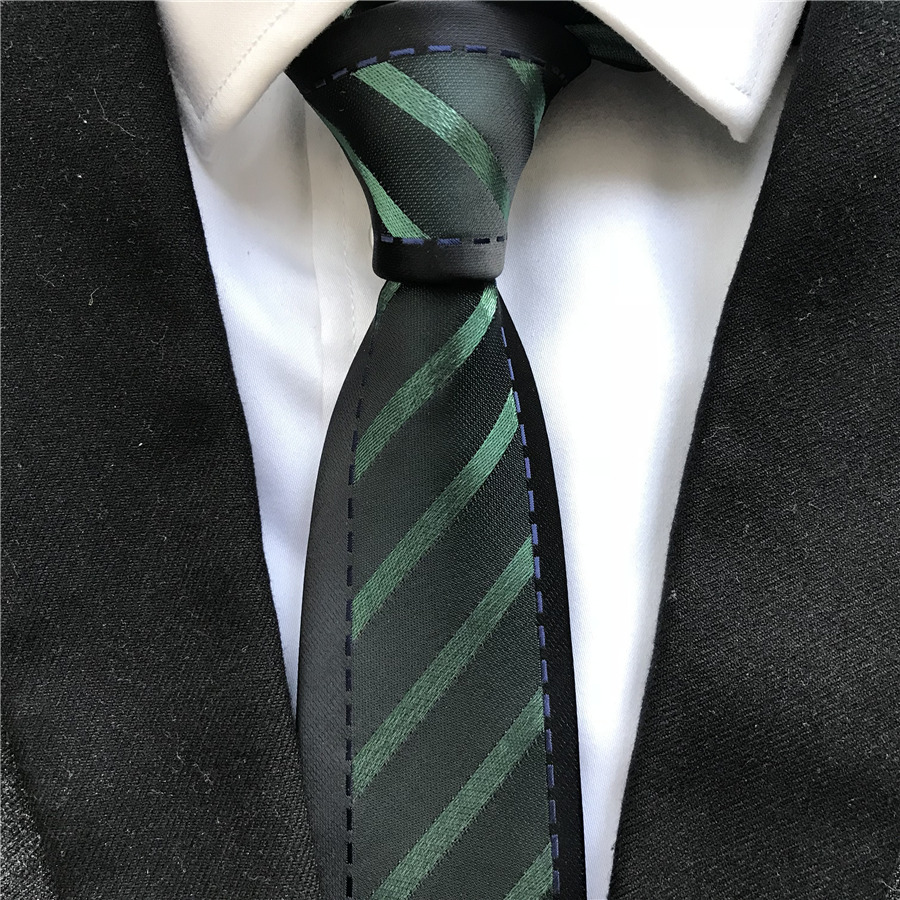 New Designer Men Fashion Skinny Necktie Unique Panel Ties Black With Green Stripes