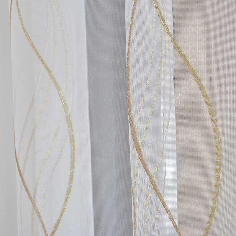 Curtains For Living Dining Room Bedroom Gold Wave Brief Embroidery Curtain Translucent White Princess Girl Window