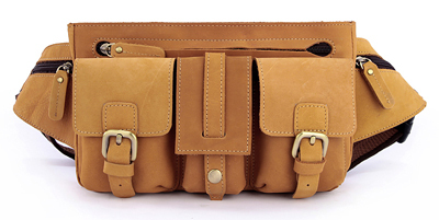 ФОТО Fashion Men's Crazy Horse Leather Waist Bag Genuine Leather waist pack Fanny bag men money bag molle belt bag pouch