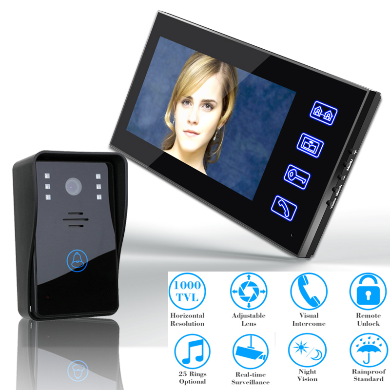 7 Video Door Phone Intercom Doorbell Touch Button Remote Unlock Night Vision Security CCTV Camera Home Surveillance