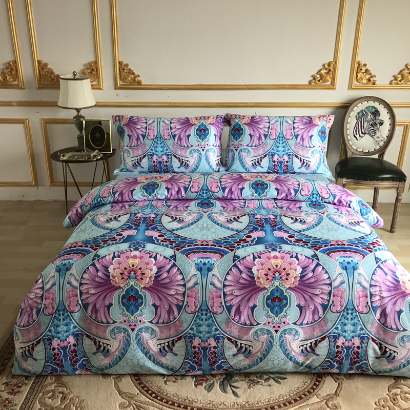 Super King Size Duvet Cover Egyptian Cotton Sweetgalas: Papa&Mima Purple Pattern Print Egyptian Cotton Bedlinens