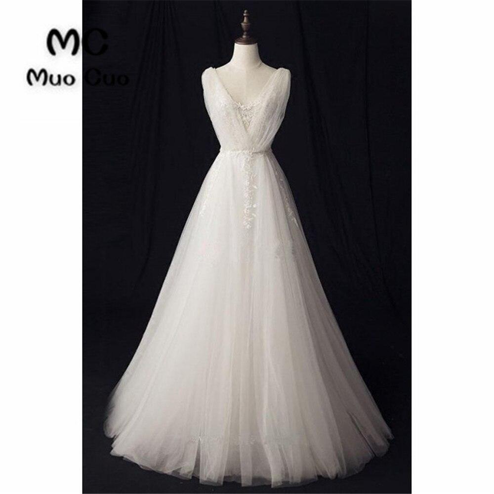2018 A-Line Wedding Dress With Lace Double V-Neck Robe De Mariage Sweep Train White Vestido De Noiva Appliques Lace Bridal Gown