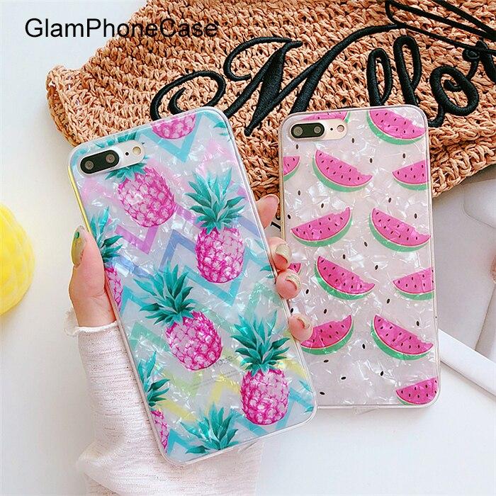GlamPhoneCase Fritillaria Watermelon Pineapple Phone Case for iphone X 8 8 plus 7 7plus 6 6plus 6 6S+ Fashion Soft Tpu Back Case